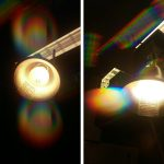 An exploration of light using diffraction grating, with different patterns arising from the different emission spectra of incandescent light bulbs and fluorescent ceiling lights.